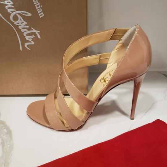 Christian Louboutin Asymmetric Open Toe Strappy Nude Sandals Image 4