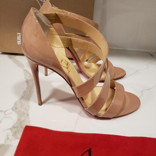 Christian Louboutin Asymmetric Open Toe Strappy Nude Sandals Image 5