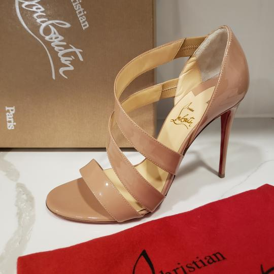 Christian Louboutin Asymmetric Open Toe Strappy Nude Sandals Image 7