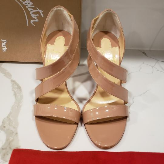 Christian Louboutin Asymmetric Open Toe Strappy Nude Sandals Image 8