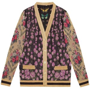 Gucci Reversible Floral Butterfly Silk Cardigan