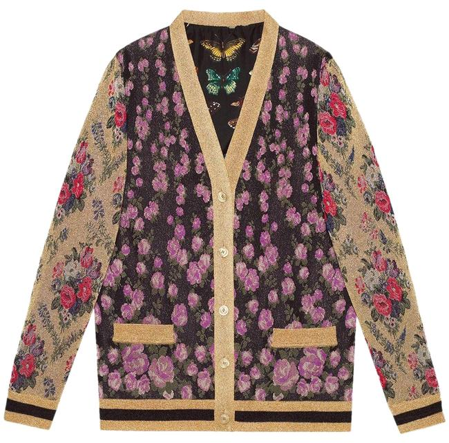 Preload https://img-static.tradesy.com/item/25600589/gucci-multicolor-patchwork-shiny-jacquard-reversible-floral-insect-cardigan-size-6-s-0-1-650-650.jpg