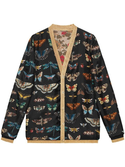 Gucci Reversible Floral Butterfly Silk Cardigan Image 6