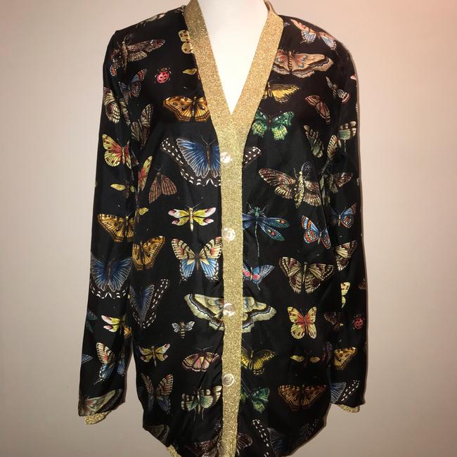 Gucci Reversible Floral Butterfly Silk Cardigan Image 7