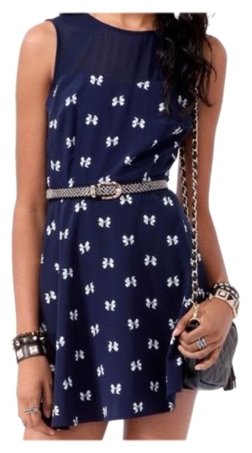 Preload https://img-static.tradesy.com/item/25600615/forever-21-navy-blue-with-bows-and-sheer-top-short-casual-dress-size-4-s-0-1-650-650.jpg