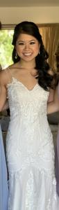 Ivory Lace with Champagne Underlay 15-110 & 15-114 (Combination) Modern Wedding Dress Size 4 (S)