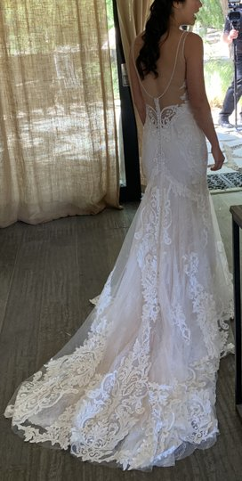 Ivory Lace with Champagne Underlay 15-110 & 15-114 (Combination) Modern Wedding Dress Size 4 (S) Image 1