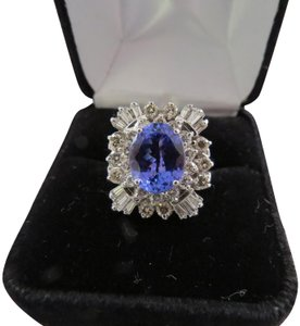 Le Vian 5.38 TCW Natural Oval Tanzanite and Diamond 14k White Gold Ring