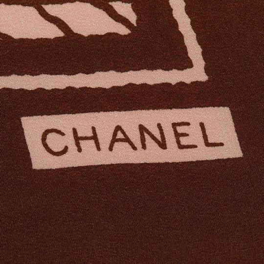 Chanel Chanel White with Brown Silk Fabric Printed Scarf France SMALL Image 1