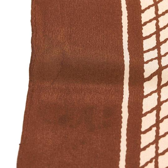 Chanel Chanel White with Brown Silk Fabric Printed Scarf France SMALL Image 2