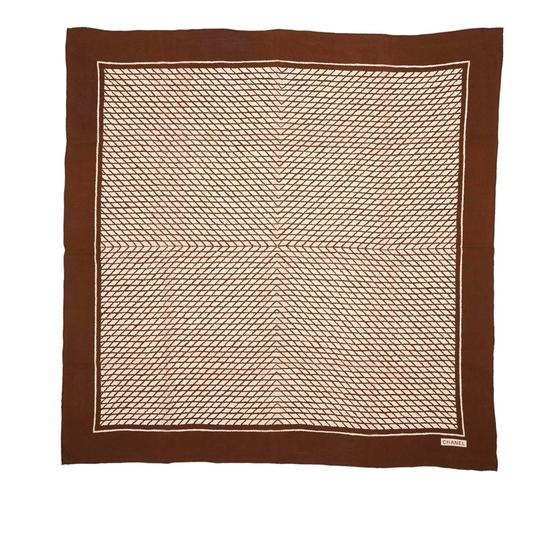 Chanel Chanel White with Brown Silk Fabric Printed Scarf France SMALL Image 4