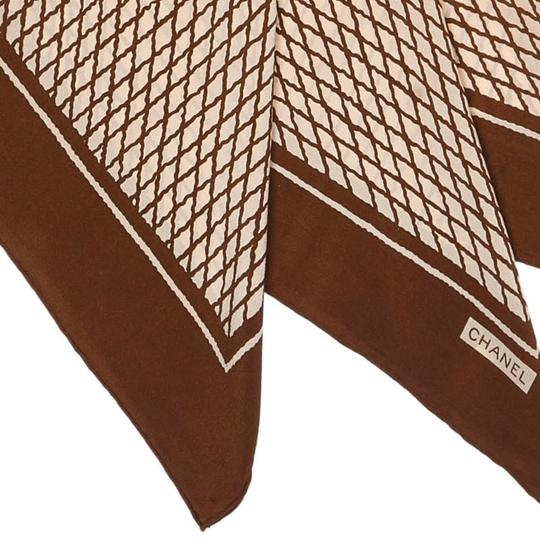 Chanel Chanel White with Brown Silk Fabric Printed Scarf France SMALL Image 5