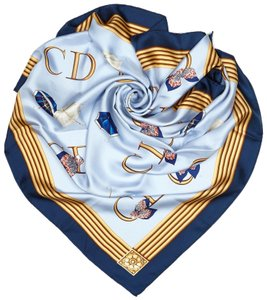 Dior Dior Blue Navy with Multi Silk Fabric Printed Scarf France SMALL