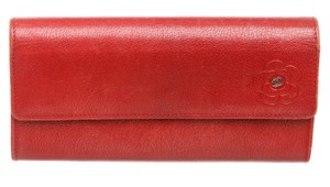 Chanel Chanel Red Leather Camelia CC Flap Long Wallet