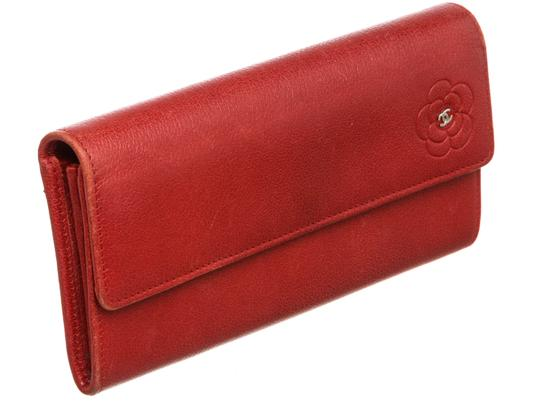 Chanel Chanel Red Leather Camelia CC Flap Long Wallet Image 1