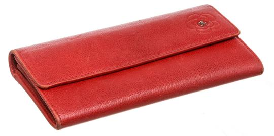Chanel Chanel Red Leather Camelia CC Flap Long Wallet Image 3