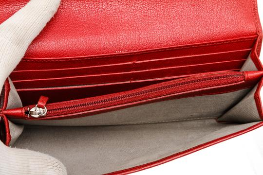 Chanel Chanel Red Leather Camelia CC Flap Long Wallet Image 4