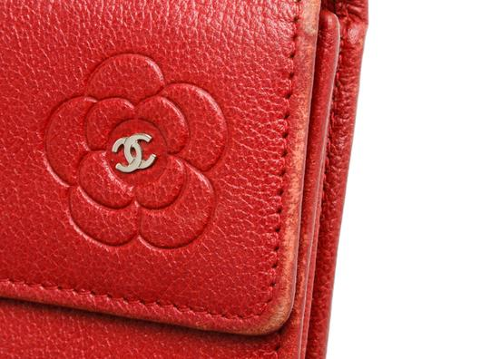 Chanel Chanel Red Leather Camelia CC Flap Long Wallet Image 5