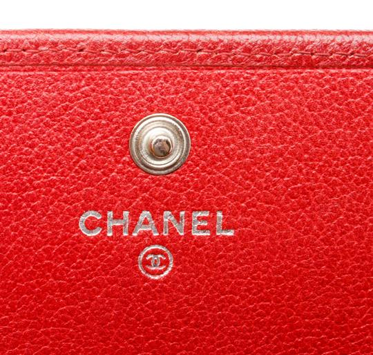 Chanel Chanel Red Leather Camelia CC Flap Long Wallet Image 8