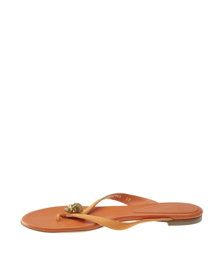 Alexander McQueen Leather Orange Sandals Image 3