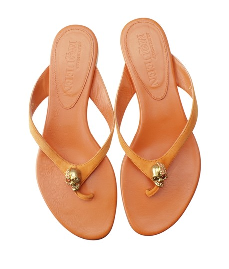 Alexander McQueen Leather Orange Sandals Image 4