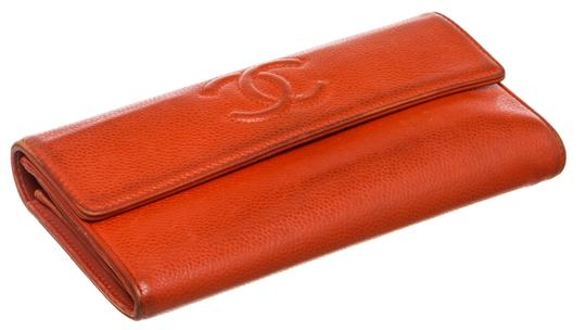 Chanel Chanel Red Caviar Leather CC Long Flap Wallet Image 3
