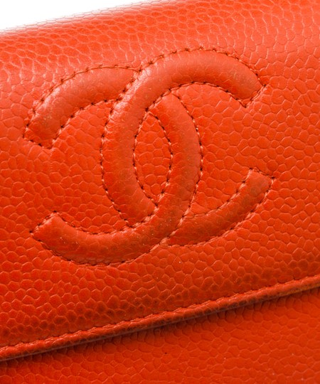 Chanel Chanel Red Caviar Leather CC Long Flap Wallet Image 5