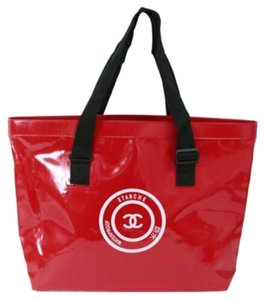 Chanel Gst Tote in Waterproof Red