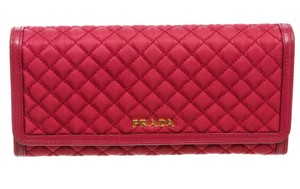 Prada Prada Pink Quilted Fabric Leather Flap Wallet