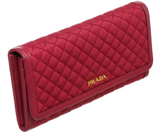 Prada Prada Pink Quilted Fabric Leather Flap Wallet Image 1