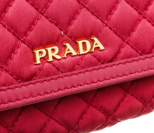 Prada Prada Pink Quilted Fabric Leather Flap Wallet Image 4