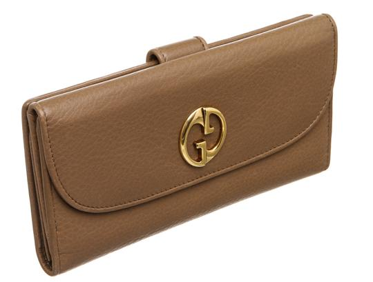 Gucci Gucci Brown Leather Vintage Long Wallet Image 1