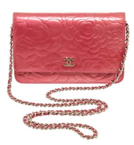 Chanel Chanel Pink Patent Leather Camellia Wallet On Chain WOC Bag