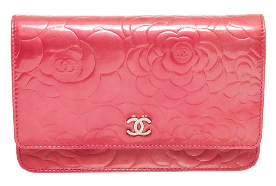 Chanel Chanel Pink Patent Leather Camellia Wallet On Chain WOC Bag Image 1