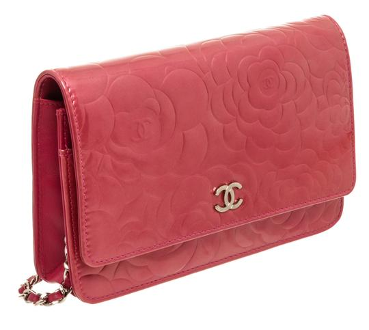 Chanel Chanel Pink Patent Leather Camellia Wallet On Chain WOC Bag Image 2