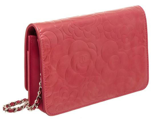 Chanel Chanel Pink Patent Leather Camellia Wallet On Chain WOC Bag Image 3