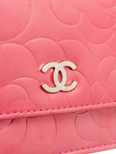 Chanel Chanel Pink Patent Leather Camellia Wallet On Chain WOC Bag Image 5
