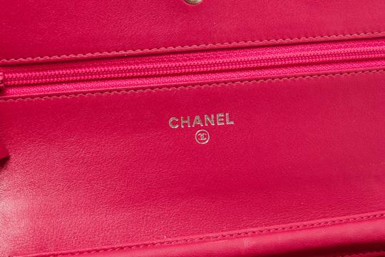 Chanel Chanel Pink Patent Leather Camellia Wallet On Chain WOC Bag Image 7