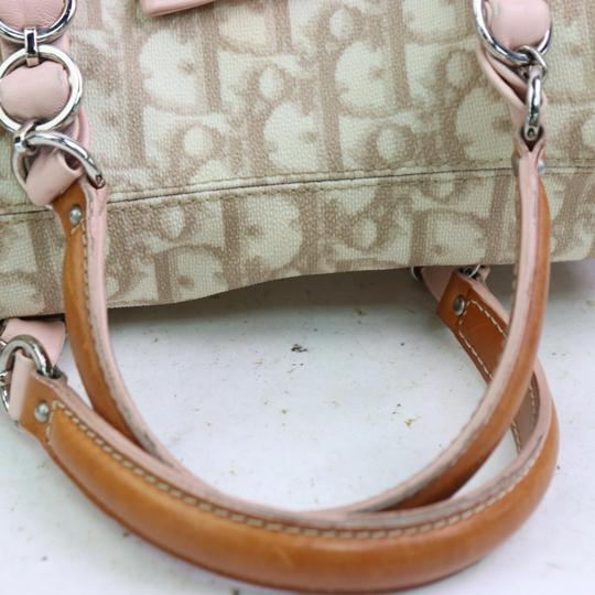 Dior Mint Condition Canvas/Leather Romantique Flap Accents Satchel in beige trotter style logo print canvas and pink and brown leather with a chrome and pink leather 'Dior' heart charm Image 11