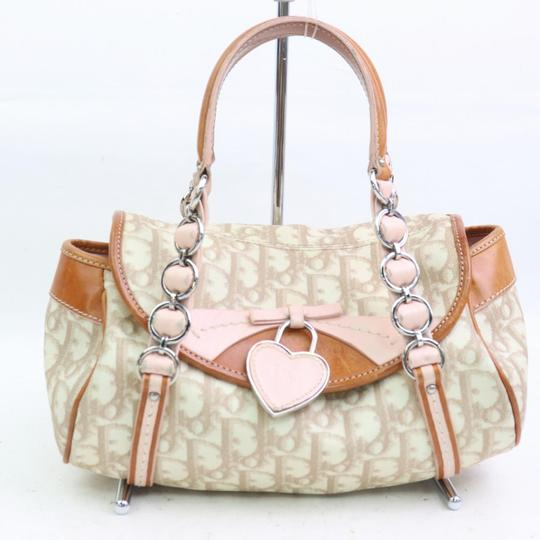 Dior Mint Condition Canvas/Leather Romantique Flap Accents Satchel in beige trotter style logo print canvas and pink and brown leather with a chrome and pink leather 'Dior' heart charm Image 5