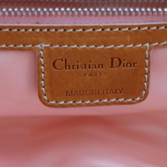Dior Mint Condition Canvas/Leather Romantique Flap Accents Satchel in beige trotter style logo print canvas and pink and brown leather with a chrome and pink leather 'Dior' heart charm Image 8