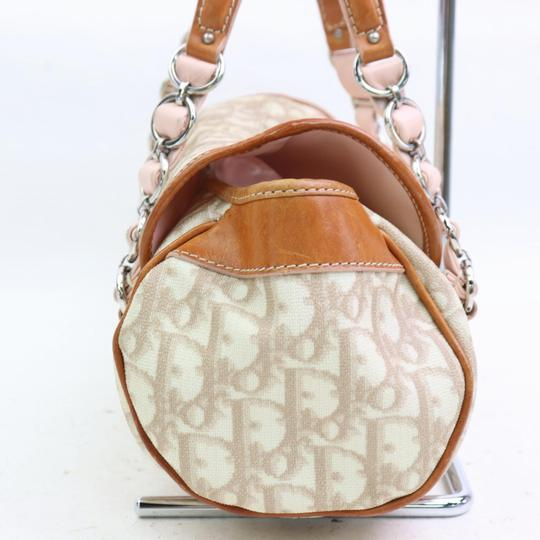 Dior Mint Condition Canvas/Leather Romantique Flap Accents Satchel in beige trotter style logo print canvas and pink and brown leather with a chrome and pink leather 'Dior' heart charm Image 9