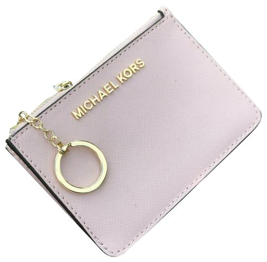 Preload https://img-static.tradesy.com/item/25601373/michael-kors-coin-pouch-wallet-card-id-case-key-chain-holder-blossom-leather-wristlet-0-1-540-540.jpg