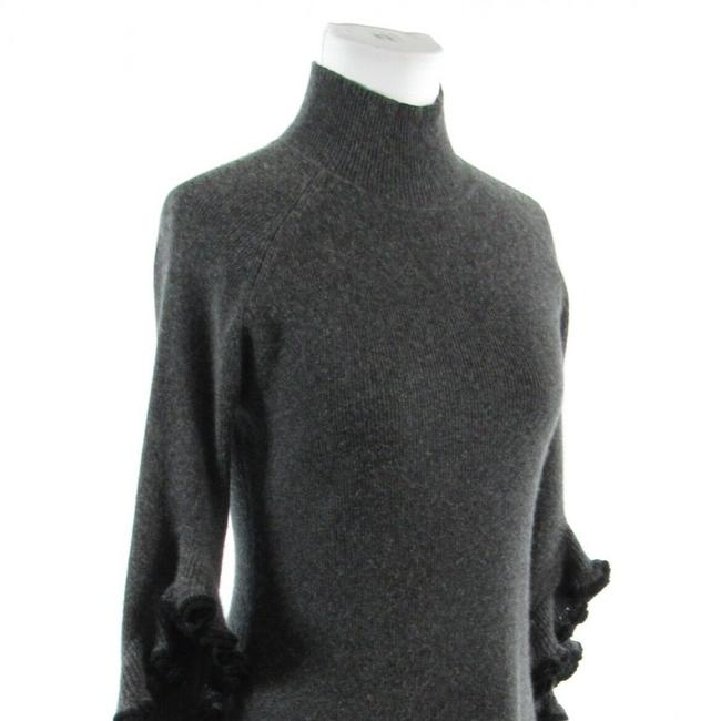 MILLY Turtle Neck Bell Sleeve Cashmere 3/4 Sleeve Sweater Image 3