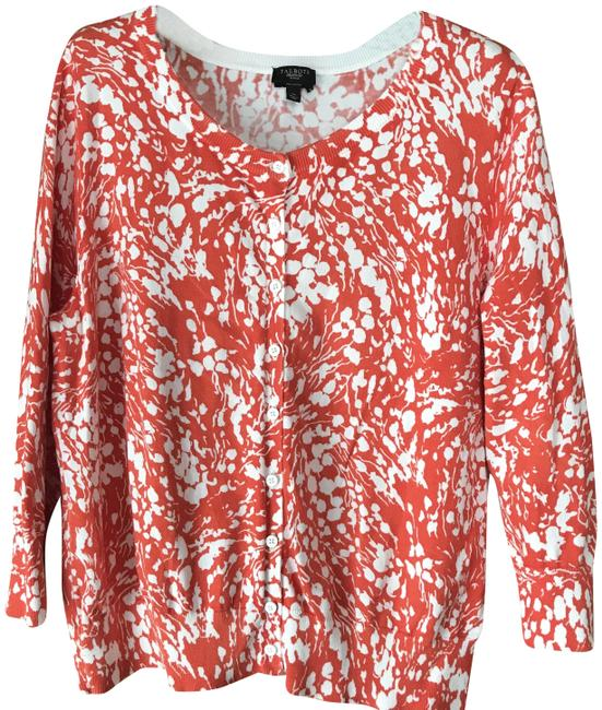 Item - Orange and White Abstract Flower Cardigan Size Petite 14 (L)