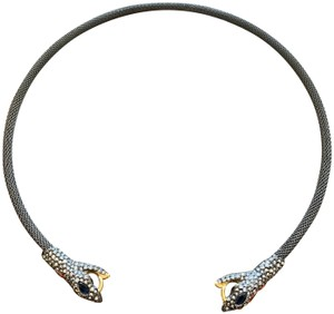 Alexis Bittar Gunmetal Spring Mesh Snake Head Necklace