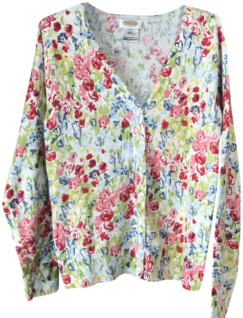 Item - White W/Blue Red Green Yellow Flowers Cardigan Size 12 (L)