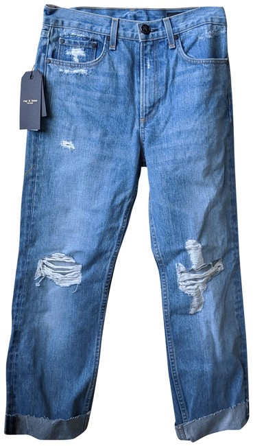 Item - Blue Distressed Shaker Straight Leg Jeans Size 27 (4, S)