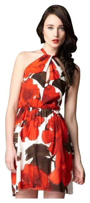 Item - White Red & Floral Halter Mid-length Night Out Dress Size 8 (M)