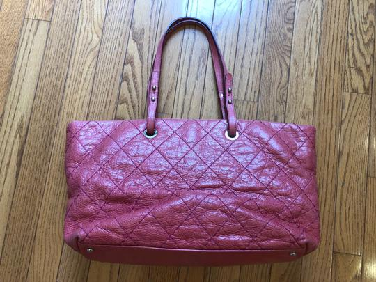 Chanel Leather Silver Hardware Tote in Pink Image 1